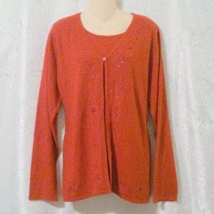 Laura Scott Red Embroidered Acrylic Sweater Faux